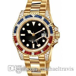 Среднее время по Гринвичу мужчины часы, кольцо с бриллиантом, диаметр 40 мм, автоматический calendar.Automatic механические часы.
