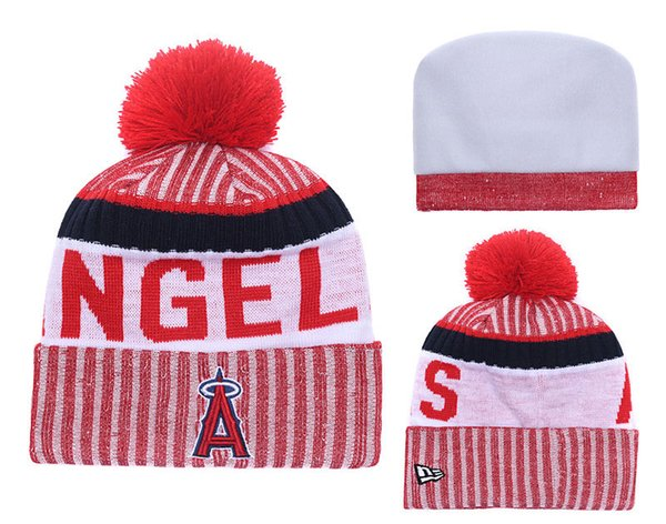 2018 New Sport Angels Baseball Skullies Hat Pom Cuffed Knitted Hats With Embroidered Team Logo Fans Fashion Winter Warm Women Beanies