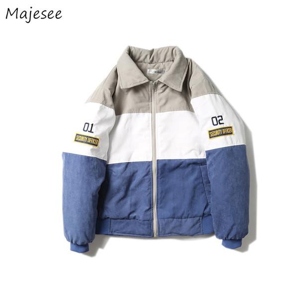 Parkas мужчины зима толще отложным воротником письмо печатных свободные Harajuku корейский куртка мужская теплая Hombres Ropa 2018 верхняя одежда шик
