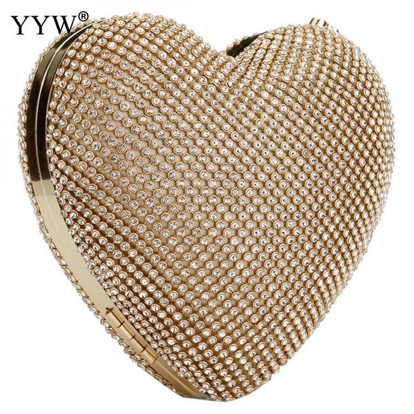 Volle luxus diamant abendtaschen herzform gold handtasche geldbörse frauen strass bankett tasche tag kupplung weiblich 3 farbe neue