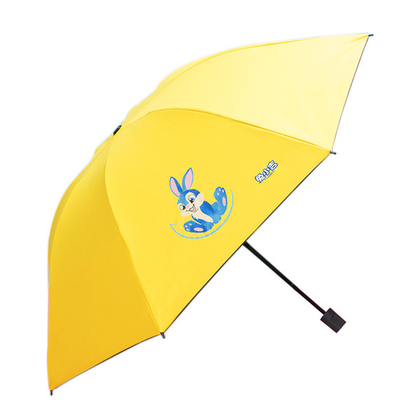 Cartoon 3 Folding Black coating Sunny and Rainy Umbrellas Cute Rabbits Personalized UV Child Sombrillas Uv Con Proteccion Solar