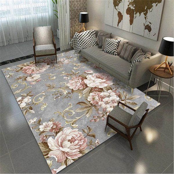 AOVOLL Area Rug For Living Room European And American Pastoral Style Pink  Gray Carpet Decoration Bedroom Rug Carpet Kids Room Carpet Tiles For  Kitchen ...