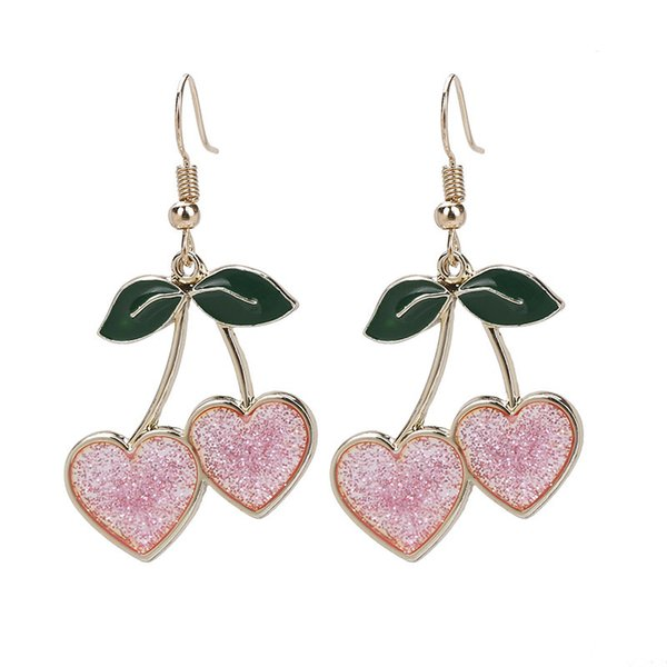 sweety fruit cherry drop earrings for women girls shining pink heart hanging dangle earrings femme fashion jewelry gifts
