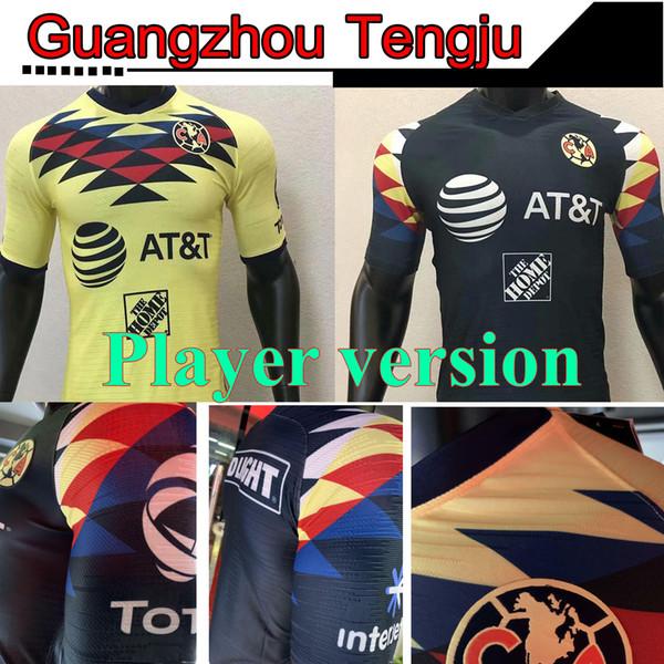 Player versão apertado G. Dos Santos 19 20 lar América Amarelo camisa de futebol R.SAMBUEZA P.AGUILAR 2019 2020 afastado México Club Football Shirt
