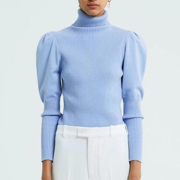 Invierno Otoño suéter suéter mujeres tops estiramiento tejido vertical textura Puff mangas cuello alto elástico delgado suéter mujer