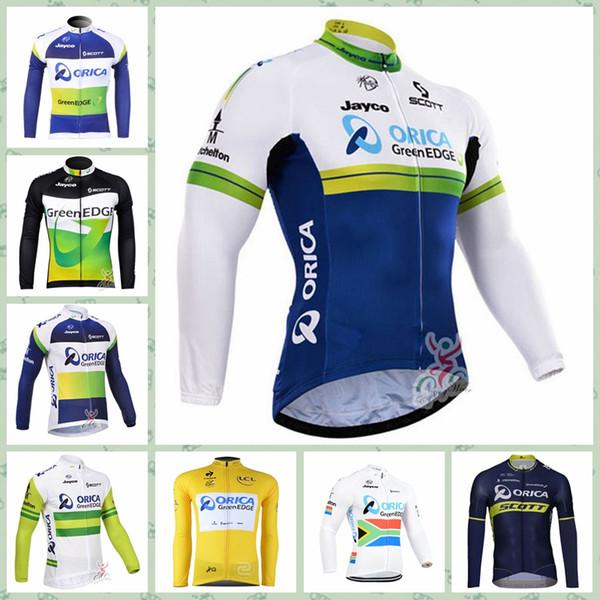 2019 ORICA EDGEGREEN team Cycling long Sleeves jerseyCheap Cheap Anti-UV 100% Polyester bicicleta Team custom made New Arrive Hot W30822