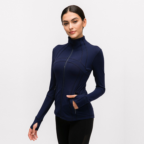 top popular LU-78 Women's Yga Slim Seamless Running Jacket Gym Long sleeves Fitness Workout Quick Dry Elastic Zippered Outdoor Sports Jacket 2020
