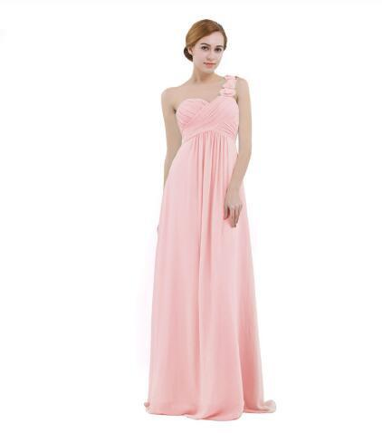 Women Chiffon Bridesmaid Dress High-waist Floor Length One-shoulder Pleated Lace Wedding Party Bridesmaid Dresses Prom Gown