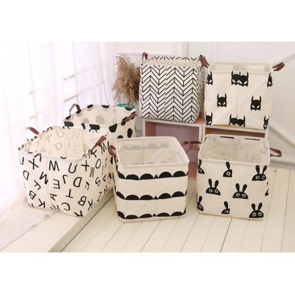 new Large Cotton Handle Folding Laundry Basket Toys Organizer Clothing Storage Bag Dirty Clothes Bucket Laundry Holder Stand