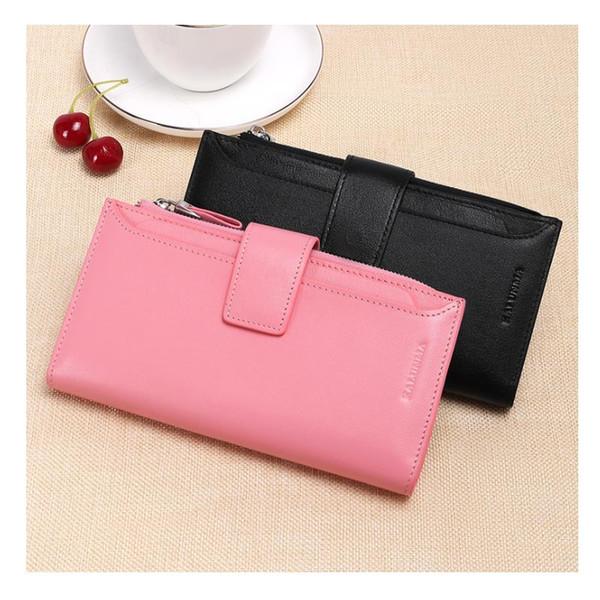 Korean version Long Wallet Leather Ladies Wallet Zipper buckle large capacity wallet spot