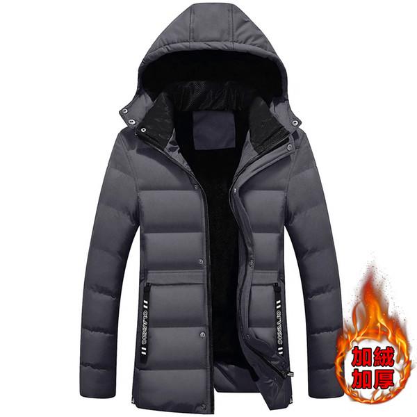 Men's winter plus velvet thick hat detachable long paragraph parkas / fashion urban casual high quality warm down cotton coat
