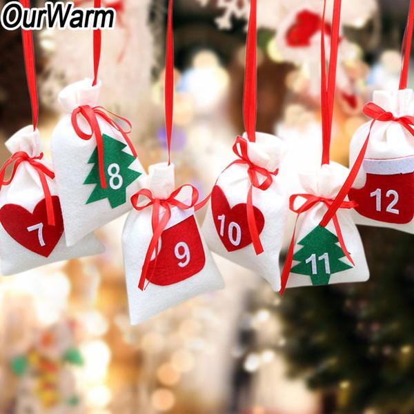 OurWarm DIY Christmas Felt Fabric Advent Calendar Data 24th 31th Christmas Tree Ornament 11x16cm Gift Bag Decorazione di Capodanno