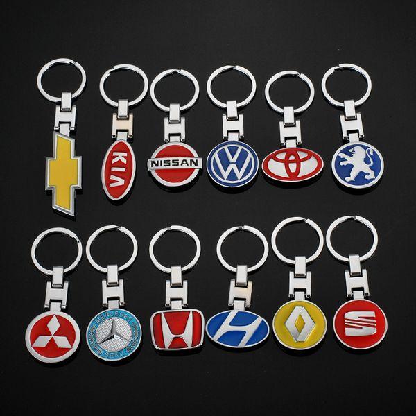 2 Pieces 3D Car Logo Keyring Keychain Auto Key Ring Key Chain Holder Keyfob For BMW Peugeot Citroen Audi Lexus Car Styling Accessories