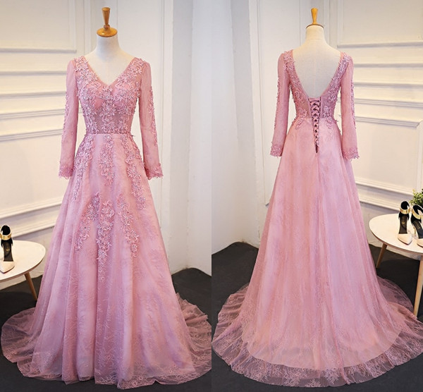 New A-Line V Collar Lace Applique Crystal Formal Evening Dresses And Long Sleeved Dresses Long Tailed Elegant Banquet Gowns