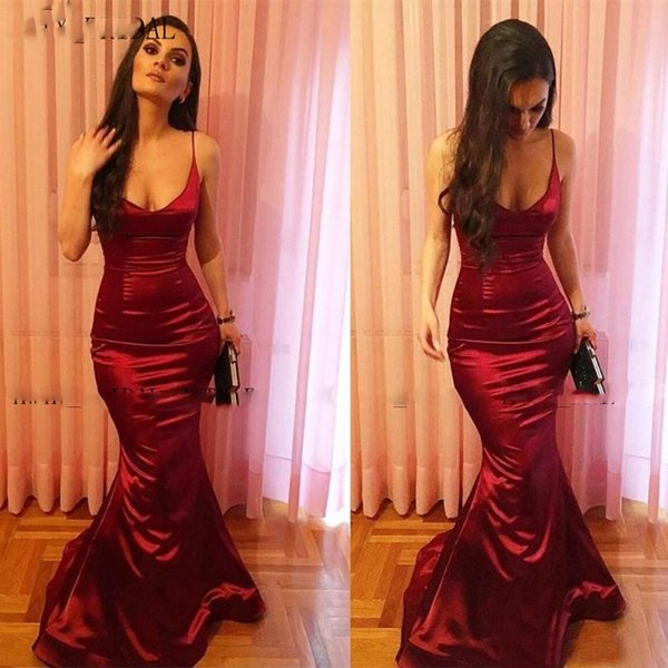 Arabic Sexy Mermaid Evening Dress 2020 Spaghetti Straps V Neck Burgundy Satin Long Special Occasion Formal Prom Dresses Gown