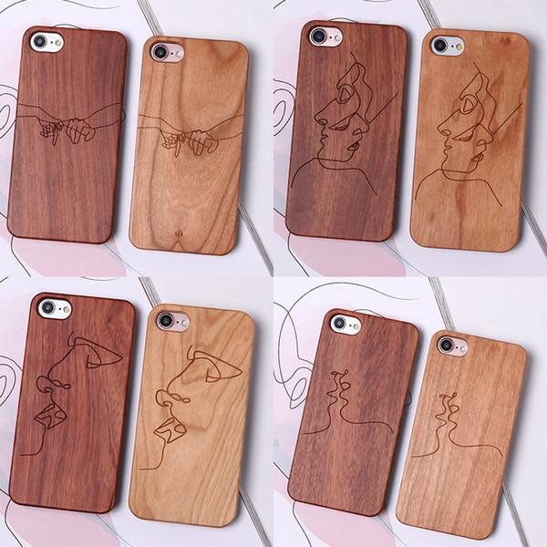 Estuches de madera para teléfonos láser Tallado para Iphone Xs Max Xr Líneas sexy Funda rígida de teléfono celular para Iphone 6 7 8 X Plus