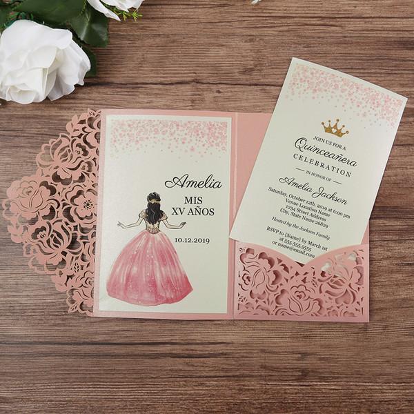 Compre Rosa De Corte Láser Xv Años De Quinceañera Invitaciones 2019 Invitación Preciosa De La Boda Floral Hueco De Bolsillo Con Rsvp Tarjeta De