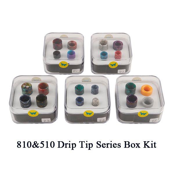 Newest Aleader 810&510 Drip Tip Series Box Kit Resin Honeycomb Snakeskin Colorful Cobra Vape Drip Tip Fit For TFV8 TFV8 Baby TFV12 DHL