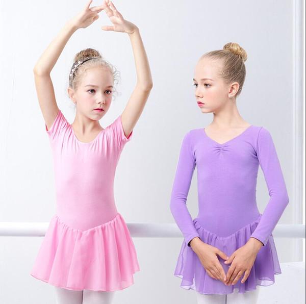 Mädchen-Ballett-Kleid Gymnastik-Trikot Lange / kurze Hülse Ballett-Kleidung Backless Bogen-Tanz-Abnutzungs-Knopf-Spielanzug TUTU-Röcke Dancewear LJJA2282