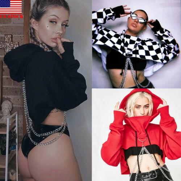 US Sexy Women Girl Casual Crop Top Pullover Sudadera con capucha Jumper Hoodie Coat