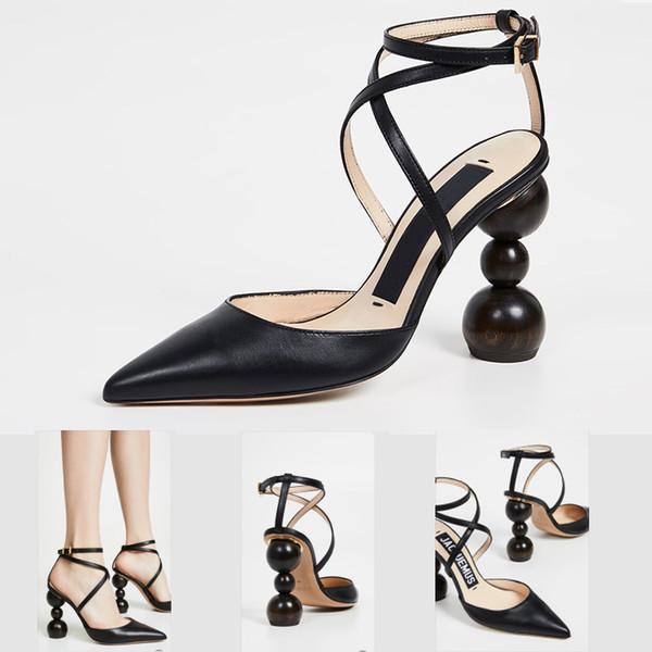 información para 4a5f6 de824 Compre Marca Sandalias Diapositivas Zapatos De Diseño Cuero Genuino Mujer  Tacones Correa Bombas De Gamuza Con Tacón Geométrico Sandalias Les Camil ...
