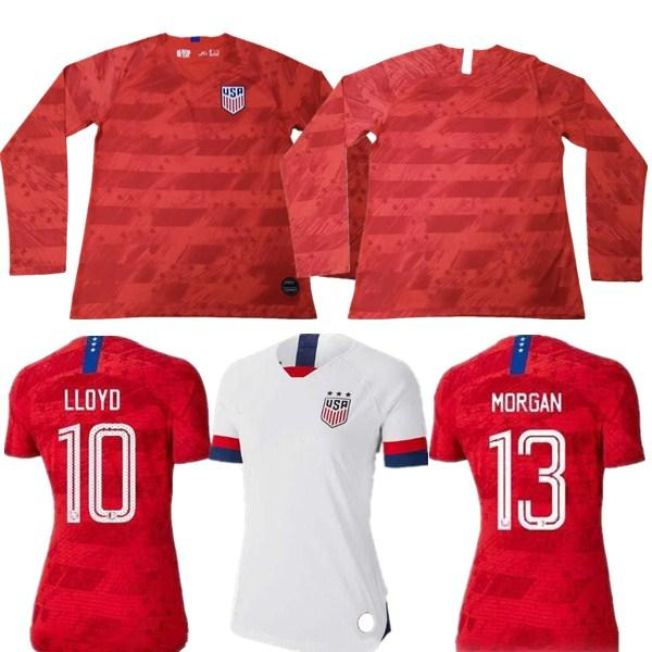 Camiseta de fútbol de manga larga de Estados Unidos de América 2019 Estados Unidos camiseta local EE. UU. HOMBRE NIÑOS LLOYD RIPINOE KRIEGER Uniforme de fútbol Femenino 19 20