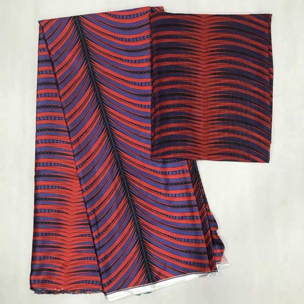 Hot selling satin silk fabric 4+2 yards/lot colorfast Nigrian design African wax pattern satin silk fabric for clothing MS03