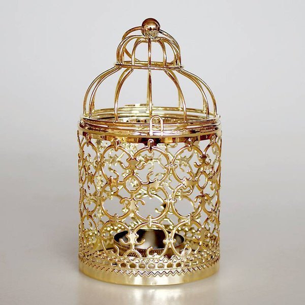 Wrought Iron Candlestick Hanging Bird Cage Shape Candle Holder Retro Iron Home Party Cafe Wedding Decor