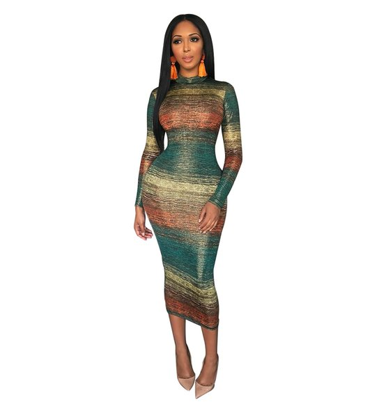 Summer Women Casual Designer Dress Gradual Change Color Slim Fit Bodycon Dress Long Sleeved Dresses Party