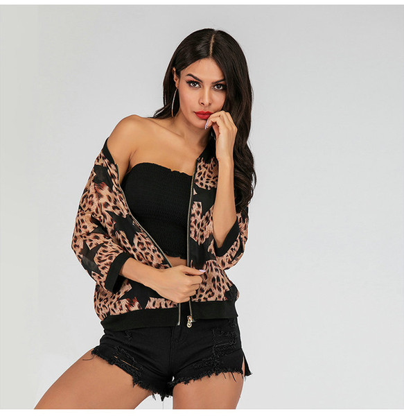 Casual Printed Womens Jacke Sommer Reißverschluss Jacken Fashio Girl Sonnencreme Jacke 2/3 Ärmel Tops Coat