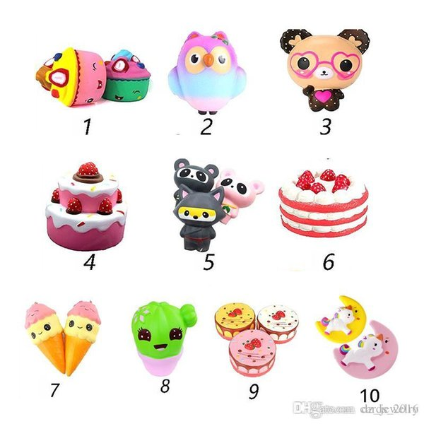 Squishy Toys squishies Rabbit tiger owl panda pineapple bear cake mermaid Slow Rising Squeeze Cute Cell Phone Strap gift for kid