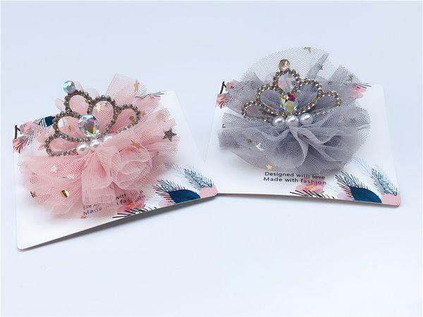 Boutique ins 10pcs Fashion Luxury Rhinestone Crown Hairpins Solid Pearl Glitter Tiaras Lace Hair Clips Princess Hair Accessories