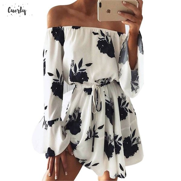 Women Beach Floral Boho Dress Loose Printing Sexy Neck The Shoulder Flare Sleeve Empire Flash Off Mini Dress Designer Clothes