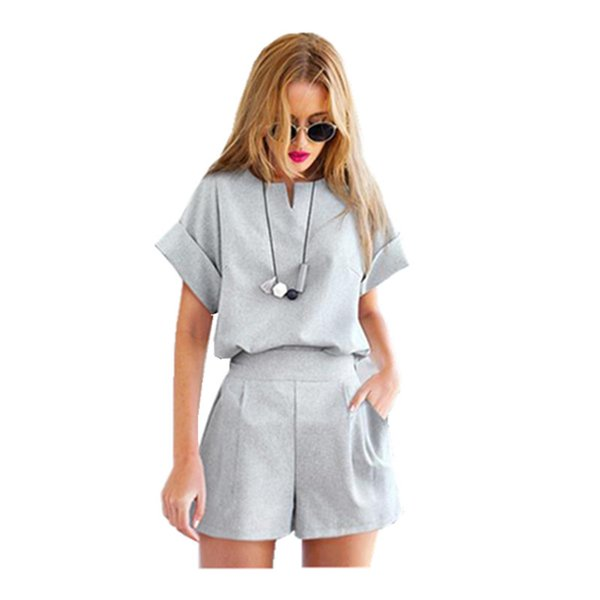 women two piece outfits Cotton Linen V-neck short sleeve tops + shorts Female Office Suit Set 2019 Women's Summer Casual Costumes JC078