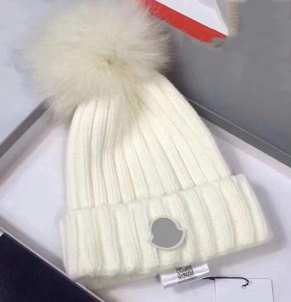 El más reciente de punto mujeres de la marca del sombrero del invierno pura lana virgen de marca de piel de zorro muchacha de la manera suave sombrero caliente sin caja hapy36a
