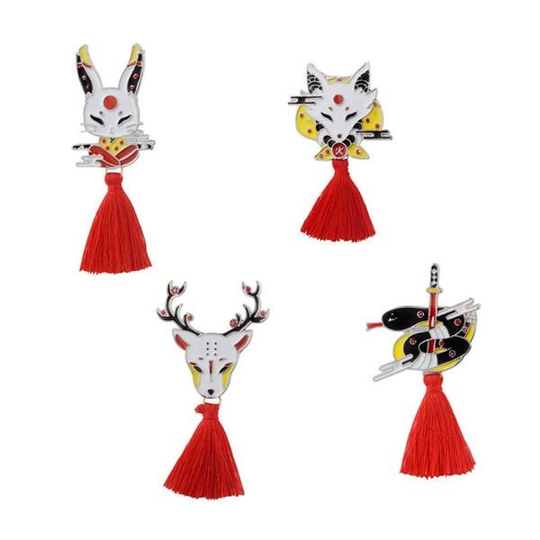 Red Cotton Tassels Animal Brooch Needle Pin Rabbit Fox Deer Snake Badge Hard Enamel Pin Jewelry Gift Handbag Jacket Denim Coat Hat Accessory