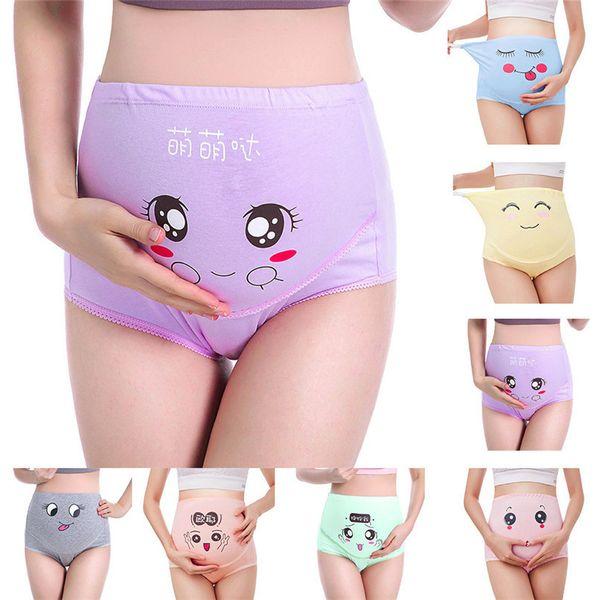 M-XXXL Pregnancy Maternity Clothes Cotton Women Pregnant Smile Printed High Waist Underwear Soft Care Underwear Clothes S14#F