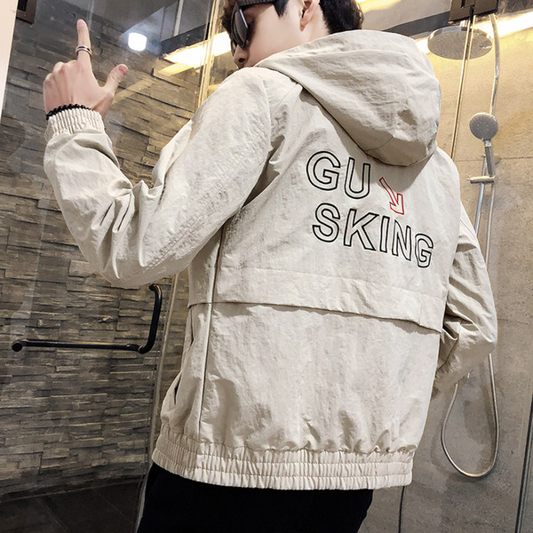 Men Fashion Embroidered Windbreaker Casual Coats Slim fit Outerwear Leather Jackets White YYS8139