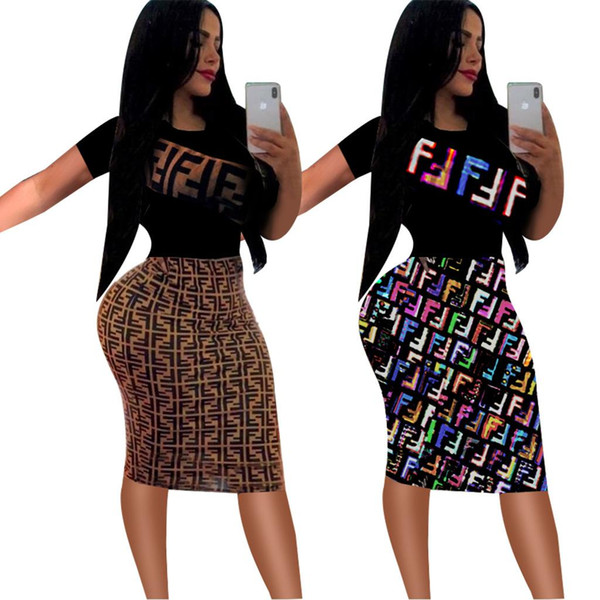 Women O Neck Pencil Bodycon Dress Summer Letter Print Short Sleeve Midi Dress Ladies Sexy Clubwear Hottest Style