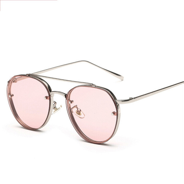 Kadınlar Yaz tarzı buhar serseri metal güneş gözlüğü erkekler UV400 lentes de Pink Yuvarlak Trendy Güneş Shades