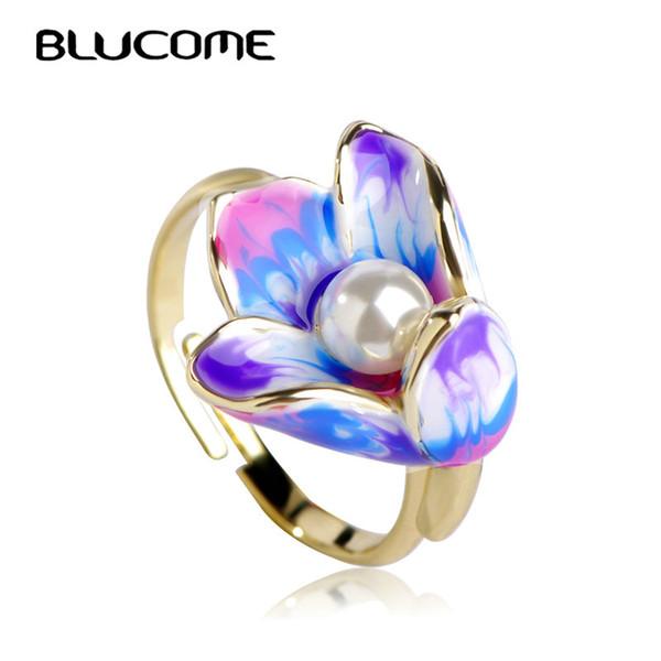 Ashion Anillos de joyería Blucome Classic Purple Enamel Flower Anillos Anillo ajustable con perla simulada Anel Mujeres Niñas Banquete de boda Finge ...