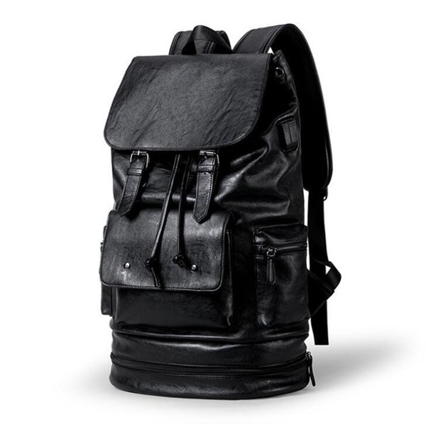 Factory wholesale brand Men bag outdoor travel waterproof leather casual backpack with shoes multifunctional men backpack simple high-capaci