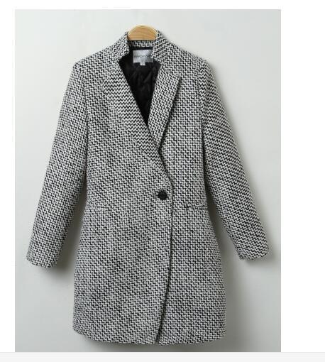 1pcs / lot femme Casual Plaid femmes Veste New manteau d'hiver manteau de laine femmes Un bouton avec poche d'hiver décontracté