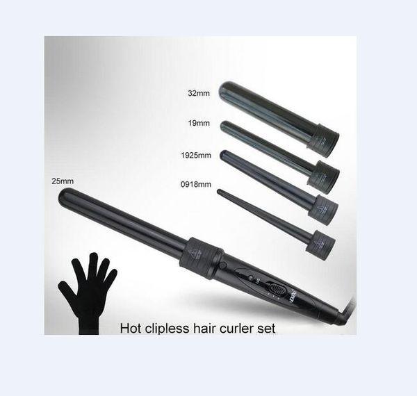 5 en 1 Curling Wand Set Hair Curling Tong Hair Curl Iron The Wand Rizador de pelo Roller Gift Set 09-32mm Curler Wand EU EE. UU. Plug