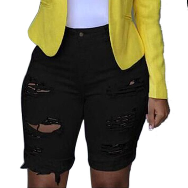 Women Knee length Jeans Shorts Females Elastic Destroyed Hole Leggings Casual Short Pants Skinny Coated Denim Ripped vaqueros