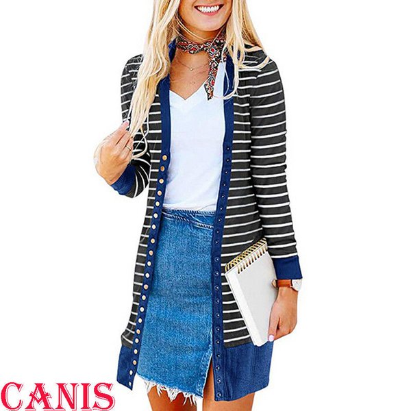New Fashion Women Open Cardigan Slim Jackets Button Style Female Stripe Knitted Outwear Long Jacket Coat Clothes