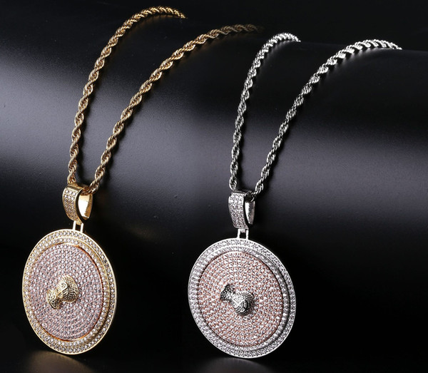 18K Real Gold Plated Full CZ Zircon US Dollar Sign Money Bag Round Rotating Pendant Necklace Chain Hip Hop Rapper Jewelry Gifts for Boys
