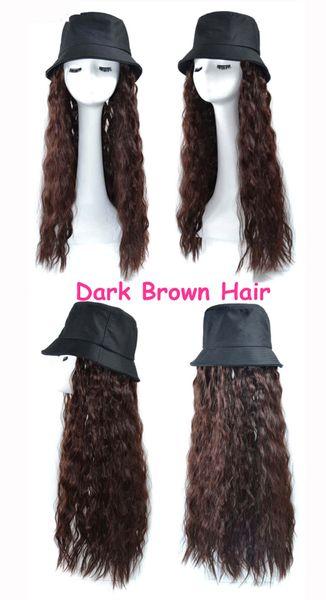 Pescador # 039; s sombrero de pelo rizado de color marrón oscuro