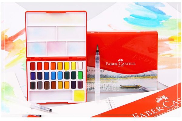 best selling 24 36 48 Colors Portable Travel Solid Pigment Watercolor Paints Set With Water Color Brush Pen For Painting Art Supplies
