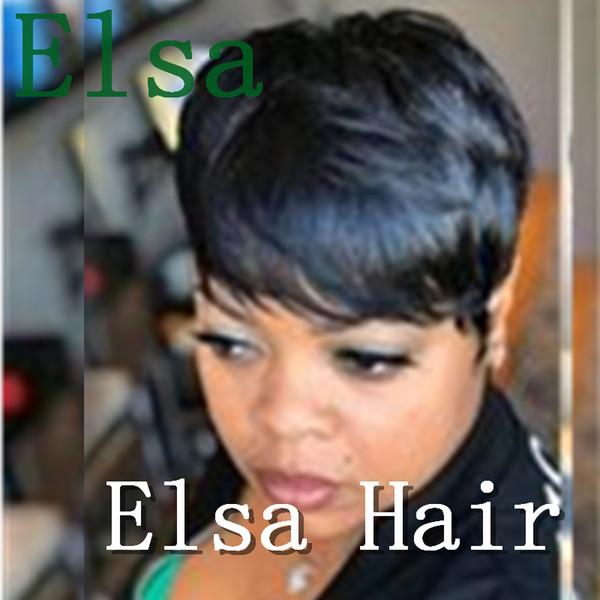 Machine made Virgin Peruvian Hair Short straight Human Hair Women Cheap pixie cut short human Hair wigs